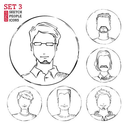 Men hand-drawn round avatars isolated on white background. Vector
