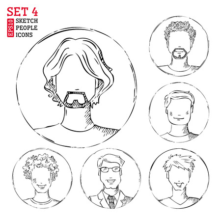man haircut: Men hand-drawn pencil pictograms isolated on white background.