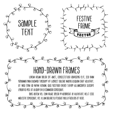 Hand drawn festive lights. There is place for your text in the center. Illustration
