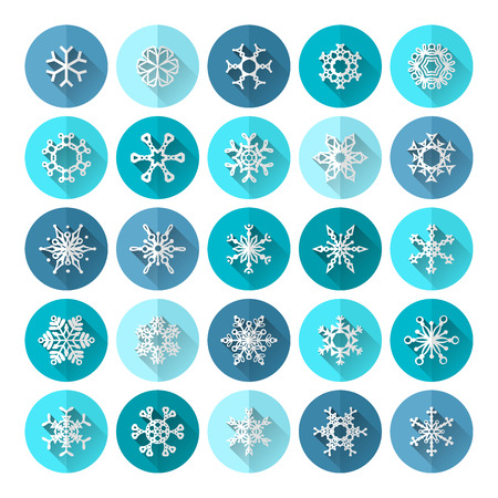 Various snowflakes with long shadow for your design and infographics. Vector