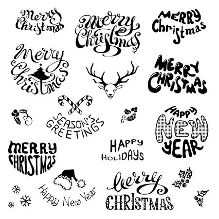 christmas hat: Merry Christmas and Happy New Year lettering. Black hand-drawn design elements isolated on white background. Illustrations set.
