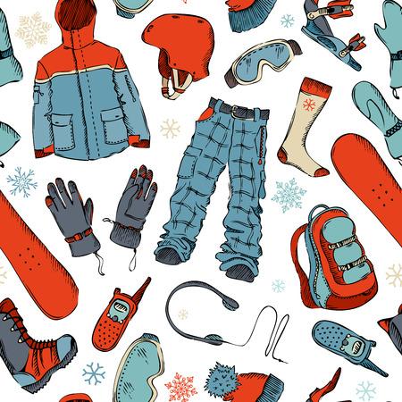 ホワイト バック グラウンド上にスノーボードのギア。冬のアクティブな屋外デザイン。  イラスト・ベクター素材