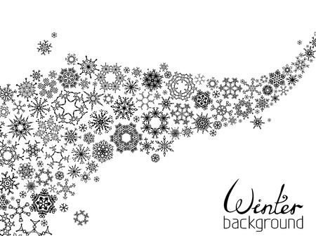 Set of various snowflakes on white background. There is place for your text. Illustration