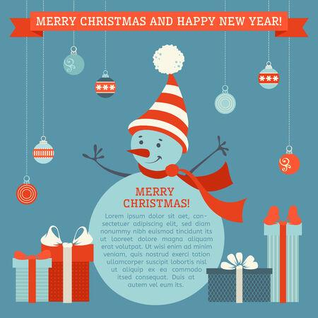 눈사람, 크리스마스 공 및 선물입니다. 텍스트를위한 장소가입니다.