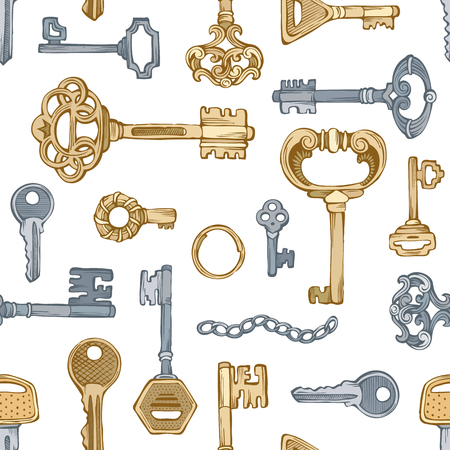 antique key: Gold and silver keys on white background. Illustration
