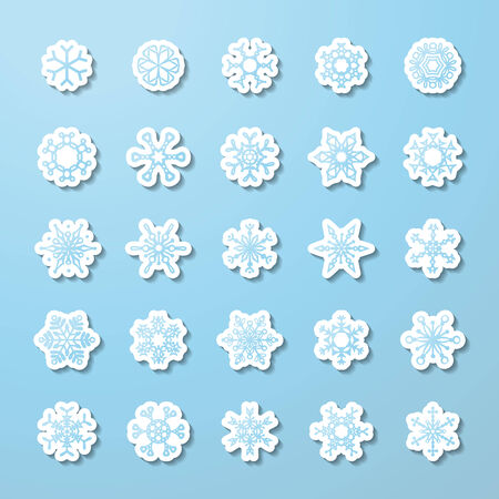 Paper icons on blue background for your winter design. Vector