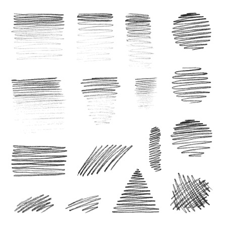 graphite: Various pencil strokes isolated on white background.