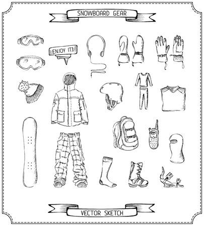 freeride: Ropa y accesorios para el deporte al aire libre en invierno. Aislado en el fondo blanco.