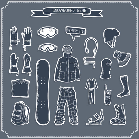 Vector hand-drawn snowboard gear.