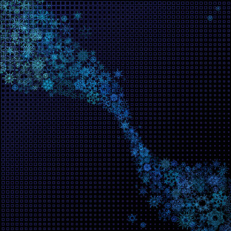 Set of blue snowflakes on dark background. Snowflakes abstract wave. There is place for your text. Vector