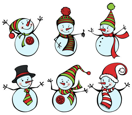 snowman cartoon: Cute snowmen for your festive design. EPS 8.