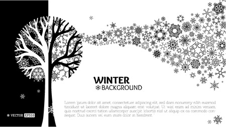 Various snowflakes on tree. Snowflakes wave background. Black and white vector illustration.