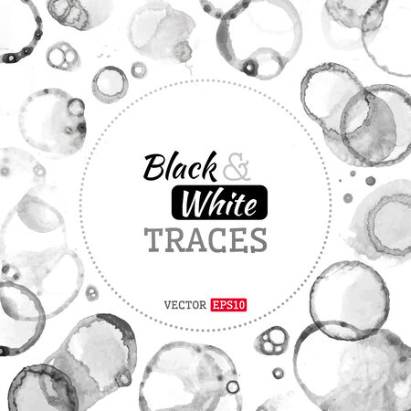 Vector background of various stains and splashes. There is place for your text in the center. Black and white illustration.