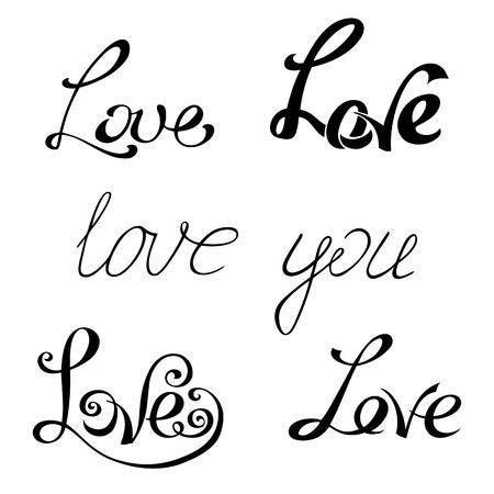 love words: LOVE lettering.
