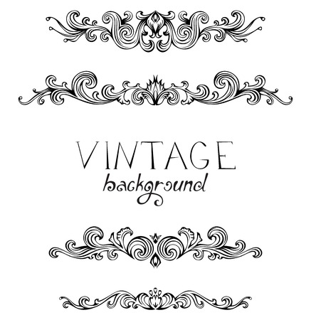 Retro style set of vintage ornaments and dividers. Vector