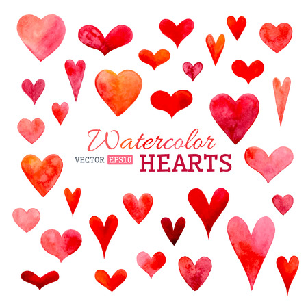 Hand-drawn various hearts isolated on white background. Wedding or Valentine's template.