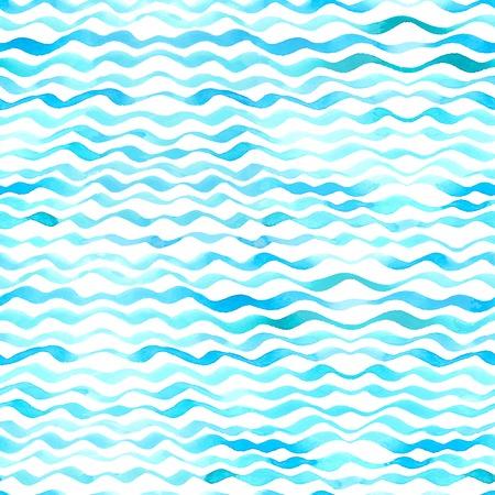 흰색 배경에 파란색 수채화 파도입니다. 일러스트