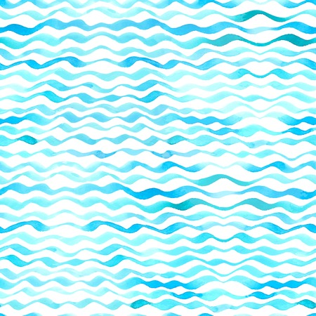 Blue watercolour waves on white background.