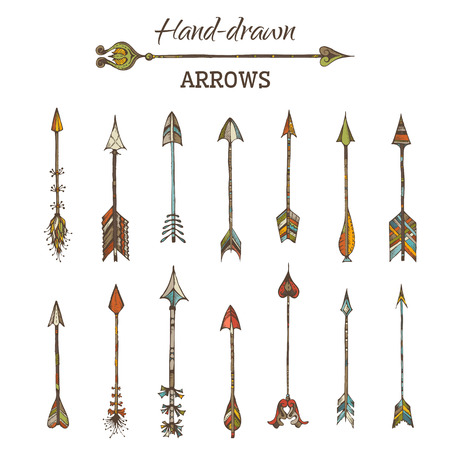 embroidery designs: Ethnic arrows isolated on white background.