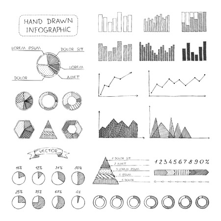 Doodles hand-drawn pencil elements isolated on white background. Vector