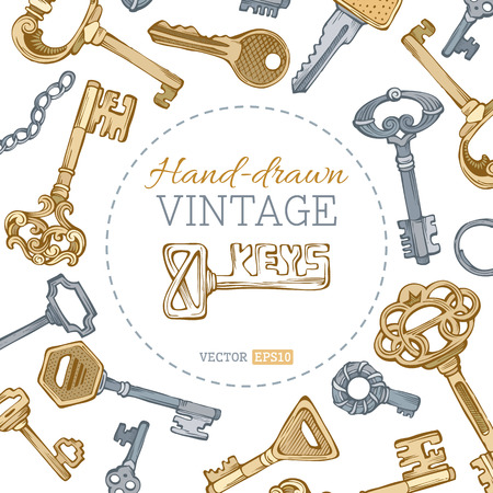 Gold and silver vintage keys on white background.  Illustration