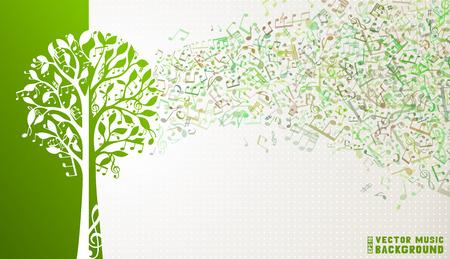 music banner: Muziek noten en g-sleutels op boom. Muziek golf achtergrond.