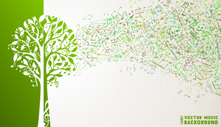 feuille arbre: notes de musique et des cl�s de sol sur l'arbre. Musique Vague de fond. Illustration