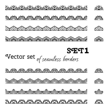 snowflake border: All used pattern brushes included. Black and white illustration.
