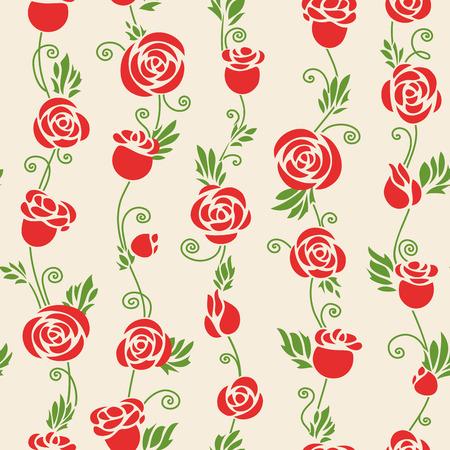 Rosas De Color Rosa Sobre Fondo Claro. Sin Fisuras Patrón Se Puede ...