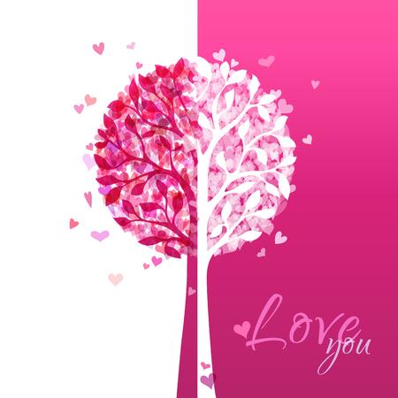 duotone: Various hearts on tree. Valentines template. Duotone illustration.  Illustration