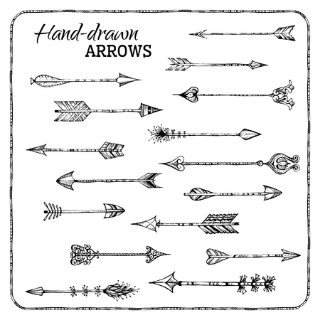Ethnic arrows isolated on white background. Black and white illustration.  イラスト・ベクター素材