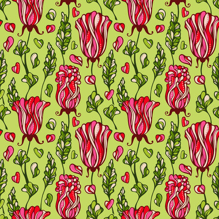be green: Various flowers and leaves on green background. Seamless pattern can be used for wallpapers, web page backgrounds or wrapping papers. Illustration