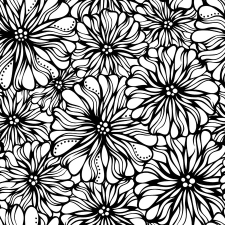 Various flowers on white background. Seamless pattern can be used for wallpapers, web page backgrounds or wrapping papers. Stock Illustratie