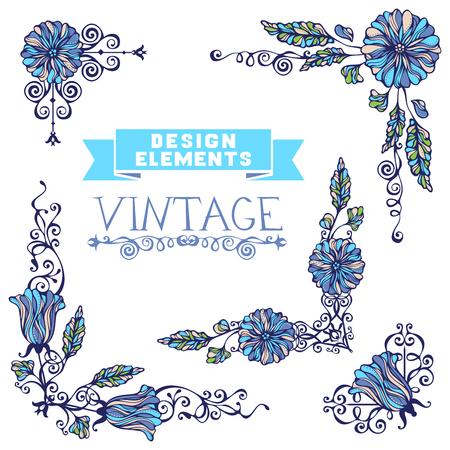 esquineros de flores: Elementos de dise�o adornos se pueden utilizar para las invitaciones, felicitaciones y tarjetas de felicitaci�n. Vectores