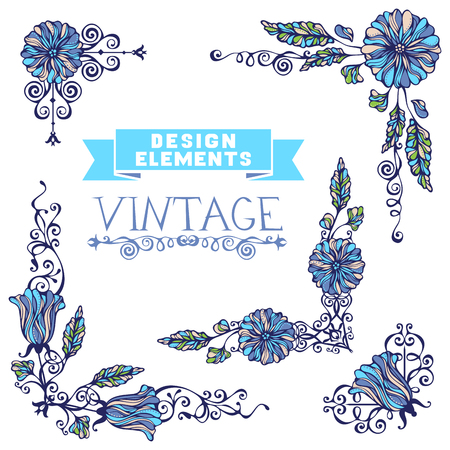 Ornate design elements can be used for invitations, congratulations and greeting cards.
