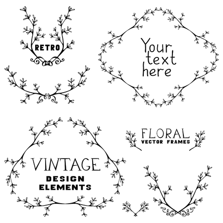 Vintage frames, text dividers, ribbons and badges of branches and leaves. Can be used for invitations, congratulations and greeting cards. Vector