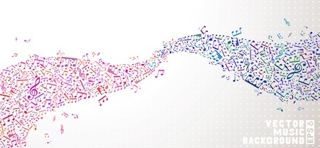 Set of pink and blue notes on light background. Music abstract wave. EPS 8.