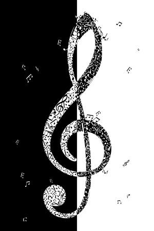 음악 요소의 G 음자리표. 벡터 일러스트 레이 션입니다.