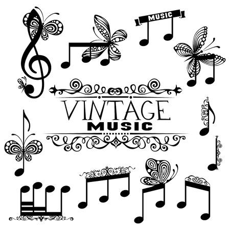 clave de sol: Conjunto de notas negras aisladas sobre fondo blanco. Clef y notas de la m�sica de agudos con mariposas y elementos de dise�o vintage.