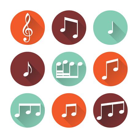botones musica: Botones de la m�sica aisladas sobre fondo blanco. Ilustraci�n del vector.