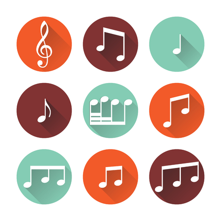 treble clef: Music buttons isolated on white background. Vector illustration. Illustration