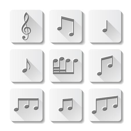 iconos de m�sica: Iconos de la m�sica conjunto aislado sobre fondo blanco. Ilustraci�n del vector.