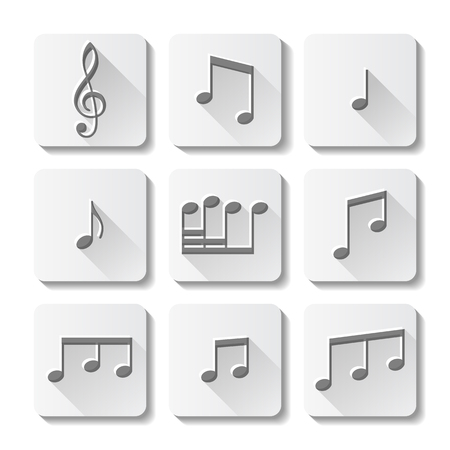 Music icons set isolated on white background. Vector illustration. Vector