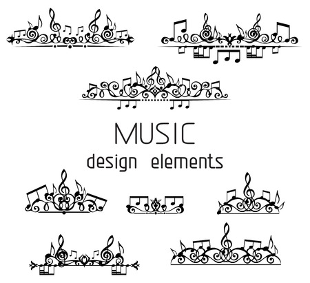 Page dividers, calligraphic design elements and page decoration with music notes and treble clefs isolated on white background. Stock Illustratie