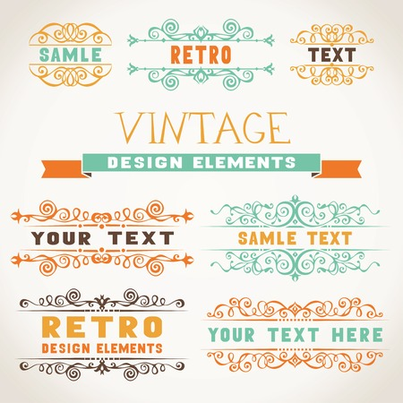 Vintage ornaments with color flourishes elements for invitations and congratulations. Vector