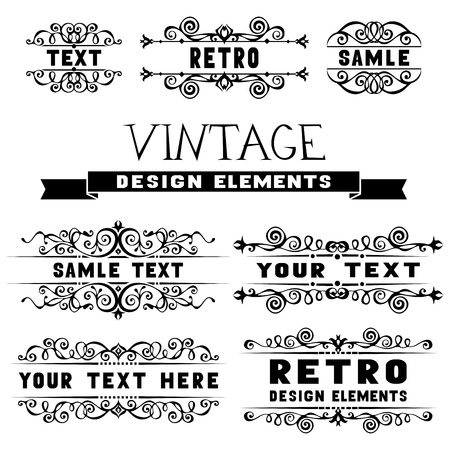 Set of vintage design elements and page decorations  イラスト・ベクター素材