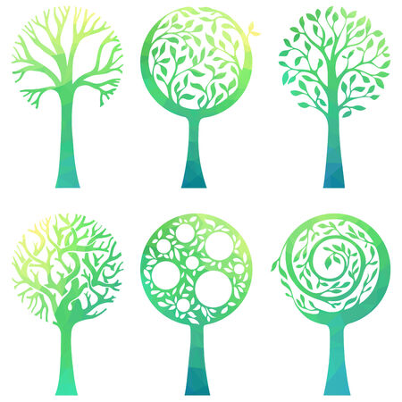 deciduous: Six various trees with geometric texture isolated on white background.