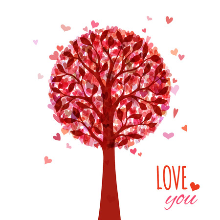 Various red and pink hearts on tree. Valentines template. There is place for your text. Vector