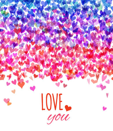 Various hearts on white background. Valentine's card. There is place for your text.