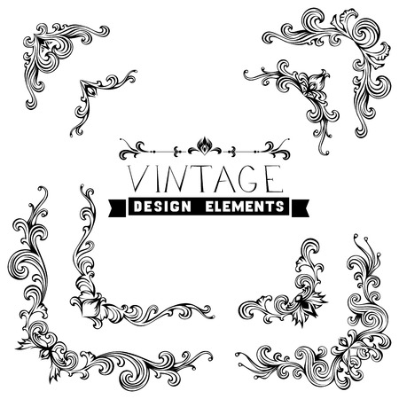 page border: Vintage corners with retro floral ornament in antique baroque style. Illustration